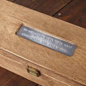 Personalised Wooden Thank You Wine Box
