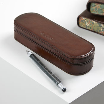 Personalised Leather Pen Box