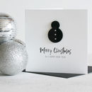 Personalised Monochrome Merry Christmas Snowman Card