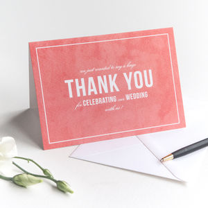 Wedding Thank You Card / Coral Pink
