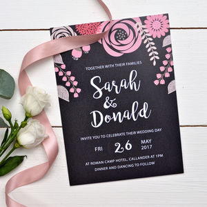 Modern Floral Wedding Invitation - invitations