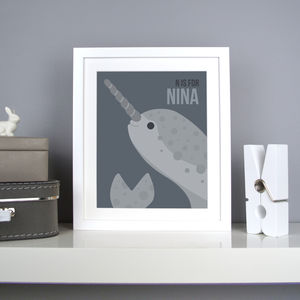 Personalised Narwhal Nursery Print