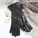 Audrey. Women's Ruched Long Leather Gloves