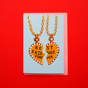Best Friends Necklace Gold Foiled Card
