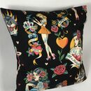 Tattooed Lady Cushion Cover In Black