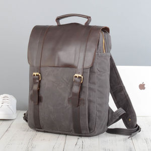 Waxed Canvas And Leather Backpack - gifts for him