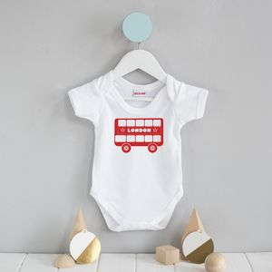 London Bus Printed Baby Wear - babygrows