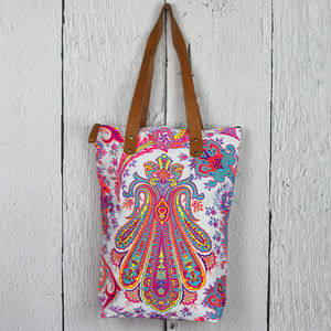 Neon Print Shoulder Beach Bag