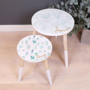 Personalised Botanical Wooden Side Table