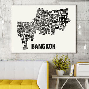 Bangkok Letter Map Screen Print - posters & prints