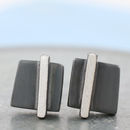 art deco silver square earrings
