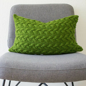 Hand Knit Lattice Cable Cushion In Emerald
