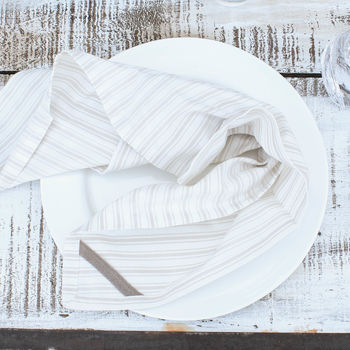 Natural Cotton Stripe Napkins Set Of Four
