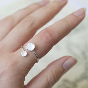Delicate Flower Silver Wrap Ring