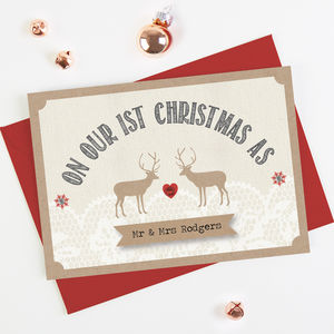 1st Married Christmas Lace Stag Christmas Card - cards & wrap