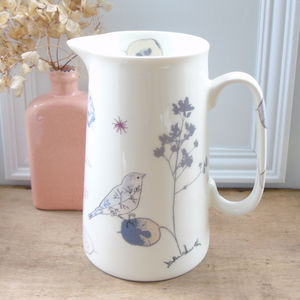 Honesty Seedheads And Chaffinch Farmhouse Jug