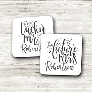 Personalised 'One Lucky Mr' 'Future Mrs' Coaster Set
