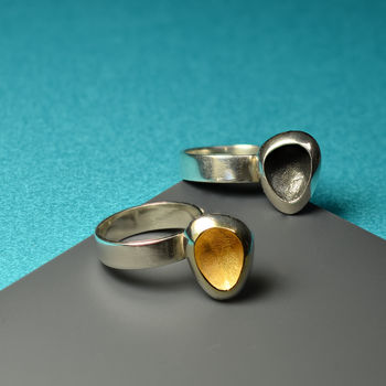Handmade silver ring with gold plated sterling and oxidisation