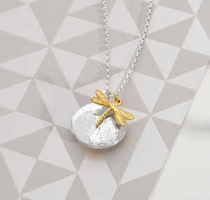 Engraved Silver Locket With Dragonfly Charm - lockets