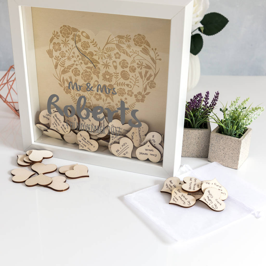 Personalised Wedding Guest Book Box Frame With Hearts By Mirrorin
