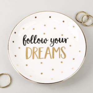 'Follow Your Dreams' Ceramic Trinket Dish - jewellery storage & trinket boxes