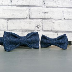 Dad And His Dog Bow Tie Set Yorkshire Herringbone Tweed