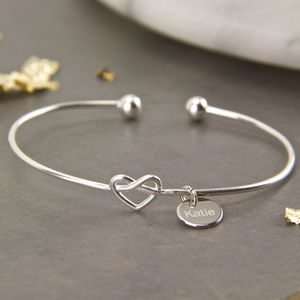 Sterling Silver Heart Knot Cuff Bangle - bracelets & bangles