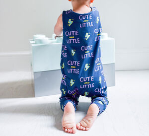 'Cute And Little' Print Baby And Child Dungarees