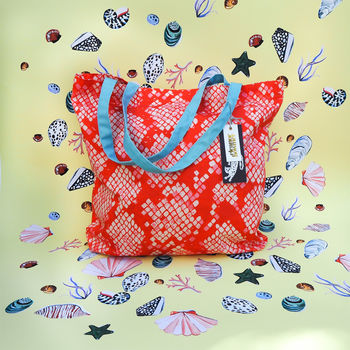 Red And Pink Snakeskin Tote Bag