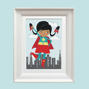 Personalised Super Girl Print - children's room