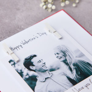 Personalised Valentines Peg Photo Card