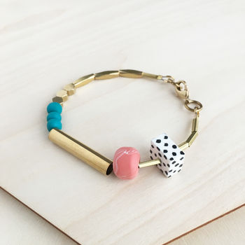 Marble And Brass Dots Bracelet