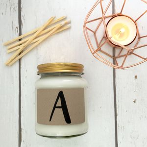 Monogram Print Scented Natural Soy Candle - candles & home fragrance