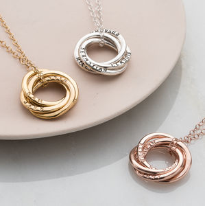 Personalised Four Ring Russian Necklace
