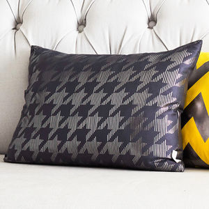 Metallic Dogtooth Rectangular Silk Cushion