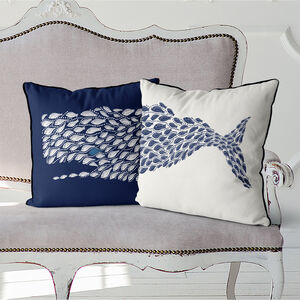 Little Fish Whale Cushions Set Of Two Multi Col Avail
