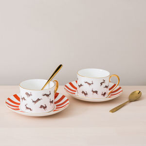 Fox And Rabbits Bone China Teacup And Saucer - cups & saucers