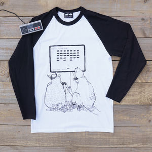 Space Invaders Bear Gaming Raglan Top - Mens T-shirts & vests