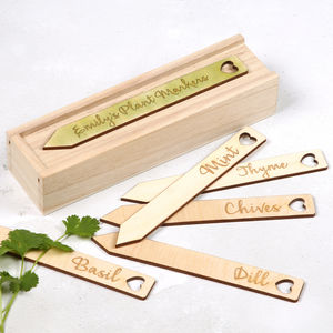 Personalised Box Of Veg And Herb Plant Markers For Her - gifts for her