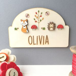 Personalised Woodland Name Door Plaque - baby's room