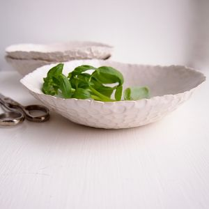 Handmade White Ceramic Textural Salad Serving Dish - bowls