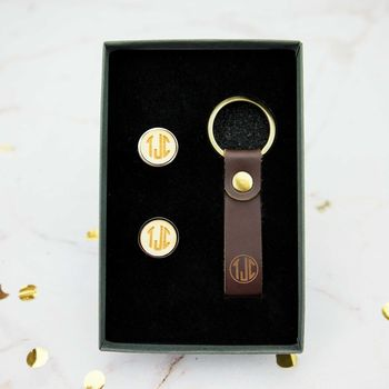 Monogrammed Cufflink And Leather Keyring Set