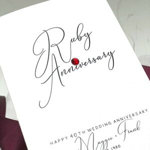 40th Ruby Jewel Personalised Anniversary Card