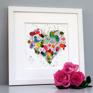 Personalised Blooming Heart Print - dates & special occasions