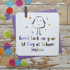 1st Day At School Good Luck Personalised Card - shop by category