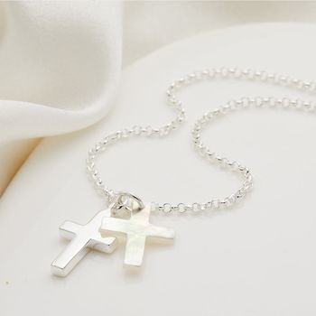 Sterling Silver And Mother Of Pearl Cross Necklace
