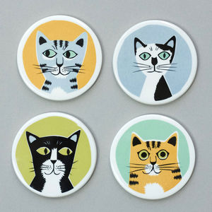 Handmade Ceramic Cat Coasters