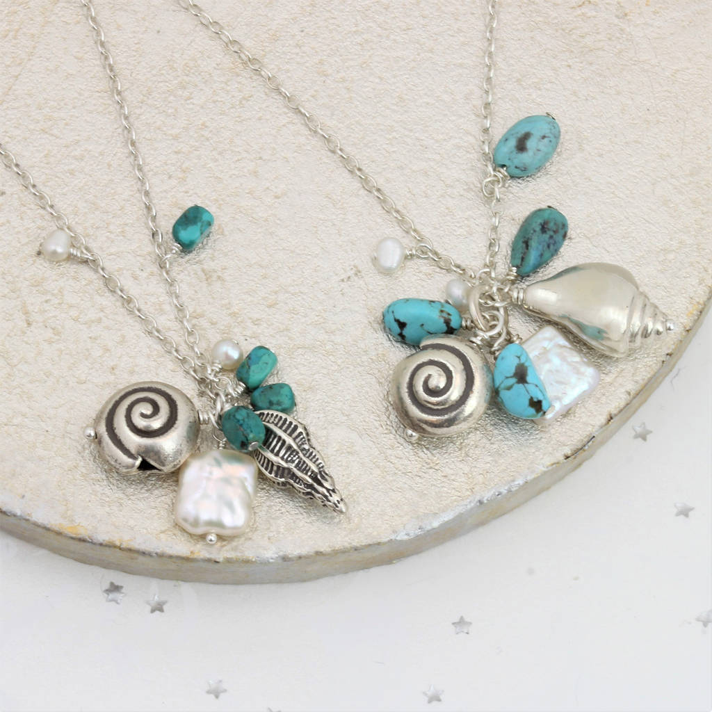 Seashell Necklace With Pearl And Turquoise