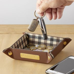 Brown Leather Coin And Travel Tray