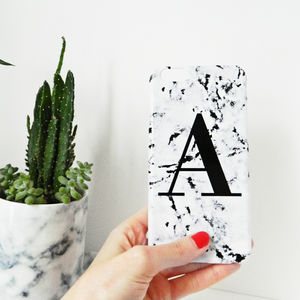 Personalised Marbled Single Letter Phone Case - tech accessories for her